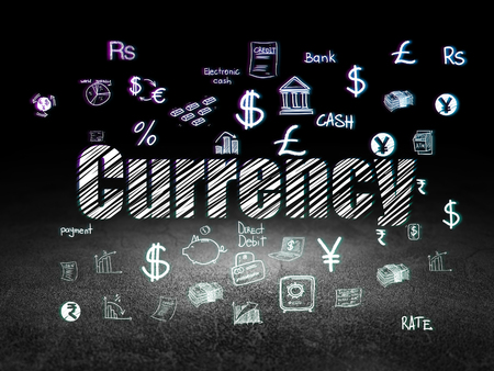 Currency concept: Glowing text Currency,  Hand Drawn Finance Icons in grunge dark room with Dirty Floor, black background