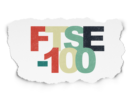 Stock market indexes concept: Painted multicolor text FTSE-100 on Torn Paper background