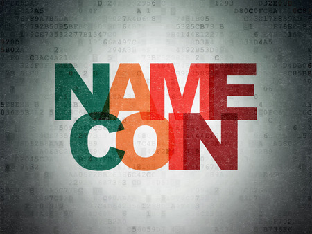 Blockchain concept: Painted multicolor text Namecoin on Digital Data Paper background