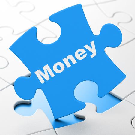 Money concept: Money on Blue puzzle pieces background, 3D rendering