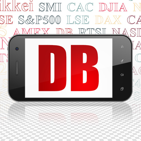 Stock market indexes concept: Smartphone with  red text DB on display,  Tag Cloud background, 3D rendering