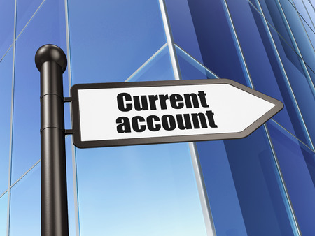 Money concept: sign Current Account on Building background, 3D rendering