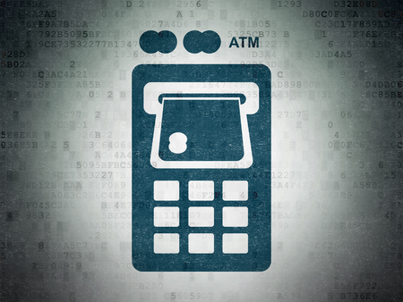 Money concept: Painted blue ATM Machine icon on Digital Data Paper background