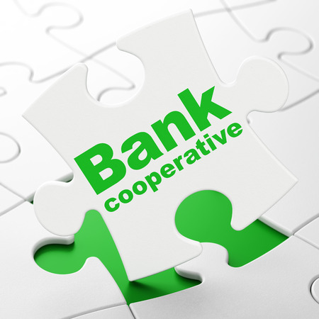 Currency concept: Bank Cooperative on White puzzle pieces background, 3D rendering