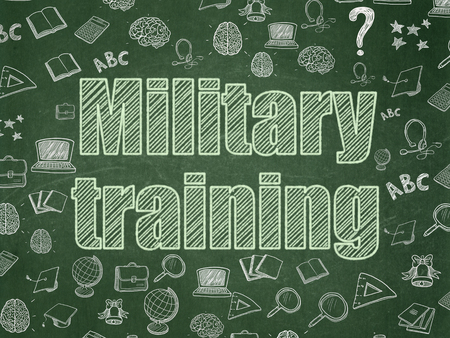 Studying concept: Chalk Green text Military Training on School board background with Hand Drawn Education Icons, School Board