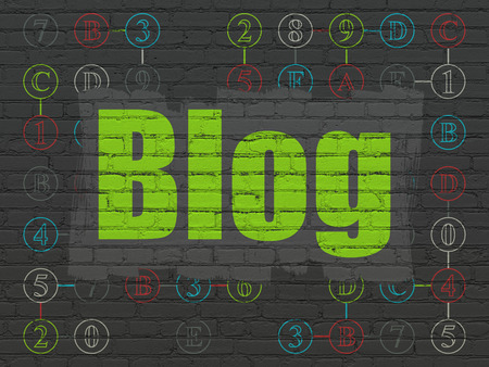 Foto de Web development concept: Painted green text Blog on Black Brick wall background with Scheme Of Hexadecimal Code - Imagen libre de derechos