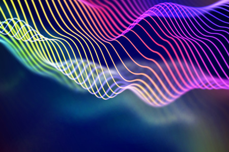 Illustration pour 3D Sound waves. Big data abstract visualization. Digital technology concept: virtual landscape. Futuristic background. Colored sound waves, visual audio waves equalizer, EPS 10 vector illustration. - image libre de droit