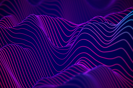 Illustration pour Big data abstract visualization: business charts analytics. 3D Sound waves. Digital surface with flowing curves. Futuristic technology background. Blue sound waves, EPS 10 vector illustration. - image libre de droit