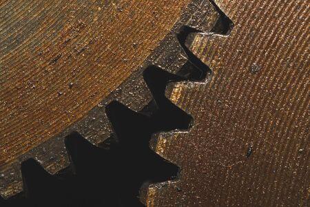Photo pour Gears of industrial machine. detail of mechanism. old cogwheels. mechanical parts of machinery - image libre de droit