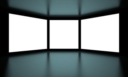 White Screens on Black Background