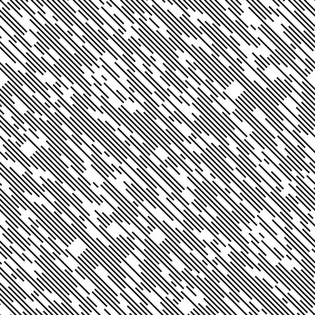 Illustration for Seamless Diagonal Chaotic Line Pattern. Vector Black and White Background. Minimal Geometric Texture - Royalty Free Image