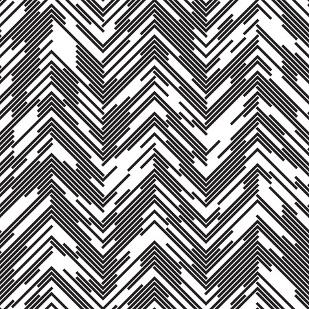 Illustration for Seamless ZigZag Pattern. Abstract  Black and White Background. Chaotic Dotted Line Ornament - Royalty Free Image