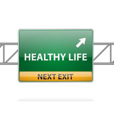 Healthy life concept with road sign showing a change