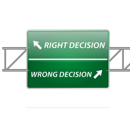 Illustration pour Right and wrong decisions direction board (sign)  - image libre de droit