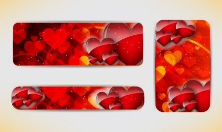 Set of three banners with red hearts  Valentine s Day   background