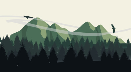 Beautiful minimalistic mountain view landscape with flying birds on sunset.