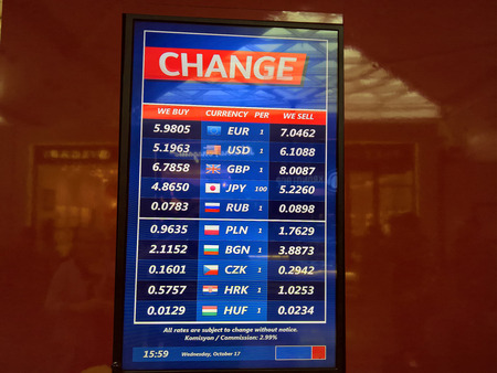 Exchange rate table in Istanbul for turkish lira