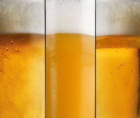 Photo pour Background three different types of beer with foam in a glass with water drops and beautifully rising bubbles                  - image libre de droit