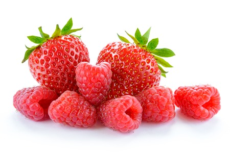 Heap of Sweet Strawberries and Juicy Raspberries Isolated on the White Background. Summer Healthy Food Concept