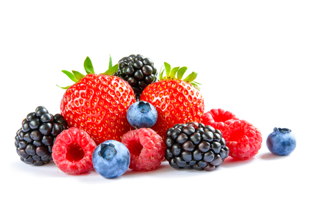 Big Pile of Fresh Berries Isolated on the White Background