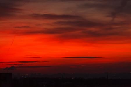 Photo pour sunset over a сity - image libre de droit