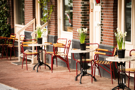 Photo for outdoor cafe in Amsterdam - Royalty Free Image