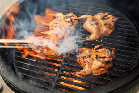 Foto per Marinated quail on the grill - Immagine Royalty Free