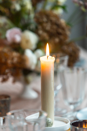 Photo for Easter table with candle - Royalty Free Image