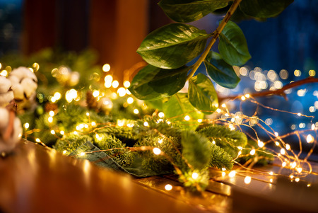 Foto de Christmas decoration with lights - Imagen libre de derechos