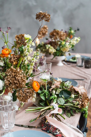 Photo for Easter table with flowers - Royalty Free Image