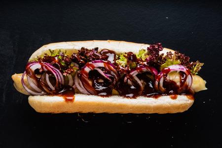 Photo for hot dog on the black background - Royalty Free Image