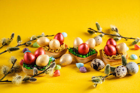 Photo for Easter pastries on the yellow background - Royalty Free Image