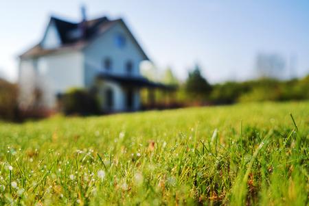 Foto de cottage house and young lawn - Imagen libre de derechos