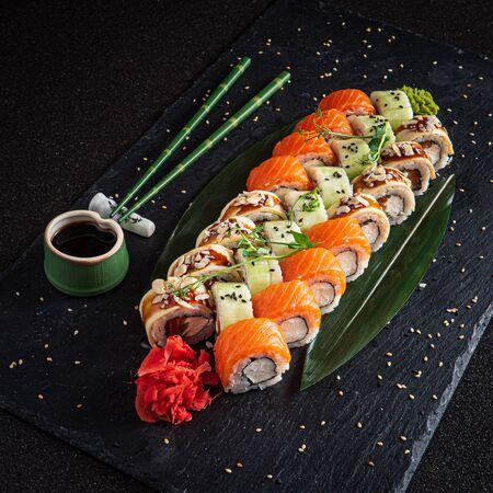 Photo for sushi set on the black background - Royalty Free Image