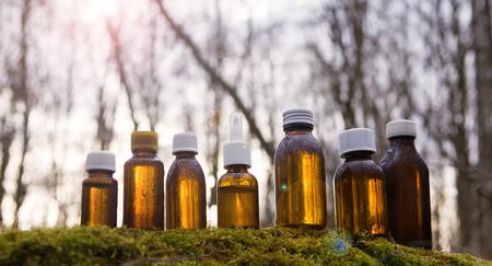 Alternative Medicine - set brown bottle. Natural medicina - amber medical bottles.
