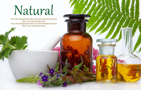 Foto de Natural medicine BACH - herbs  therapy. Fresh herbal extract. Alternative therapy, treatment. - Imagen libre de derechos