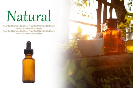 Natural medicine - free space for your text. Alternative medicine - white background, space for text.