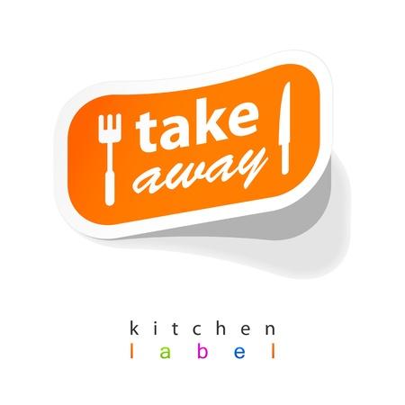 Illustration pour Takeaway labels sticker - image libre de droit
