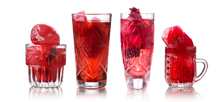 Collection of glasses with frozen hibiscus tea. Agua fresca, red sorrel, karkade