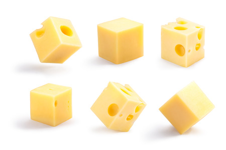 Photo pour Set of holey, plain, steady and tippy cheese cubes. Clipping path for each cube, shadows separated - image libre de droit