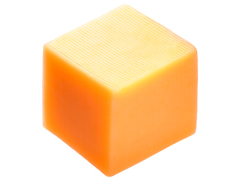 Photo pour Cheddar cheese cube isolated on white, shadowless - image libre de droit