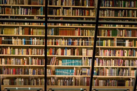 Photo for Library bookshelf filled with books - Royalty Free Image