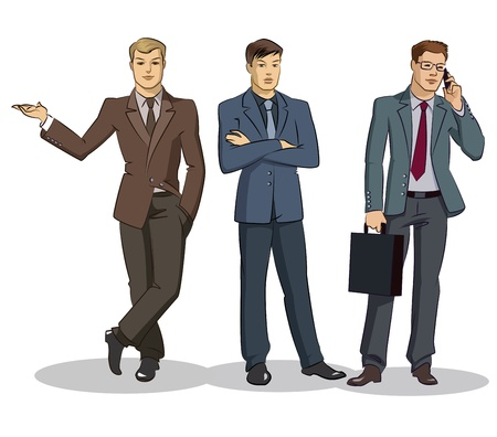Ilustración de Businessman group standing. Vector illustration isolated on a white background - Imagen libre de derechos