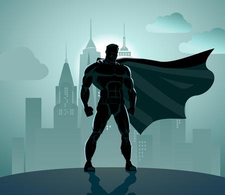 Illustration pour Superhero in City: Superhero watching over the city. - image libre de droit