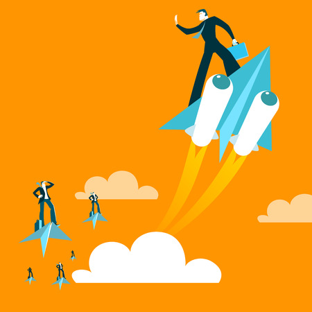 Paper plane. Haste. Victory over parties. Boost acceleration. Vector illustration
