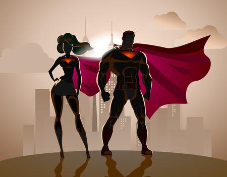 Illustration pour Superhero Couple: Male and female superheroes, posing in front of a light. City background. - image libre de droit