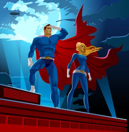 Illustration pour Superhero Couple. Male and female superheroes. Cloudy sky. Vector illustration - image libre de droit