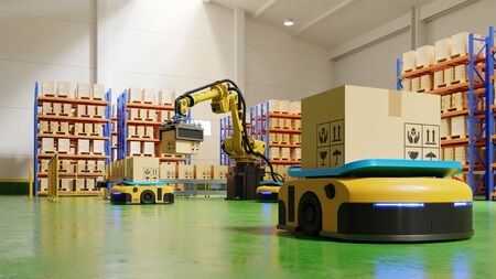 Photo pour Factory Automation with AGV and robotic arm in transportation to increase transport more with safety.3D rendering - image libre de droit