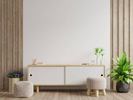 Photo pour Cabinets and wall for tv in living room, Mockup white wall,3D rendering - image libre de droit