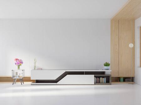 Photo for shelf tv in modern empty room,minimal design, 3d rendering - Royalty Free Image